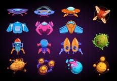 Planetas y naves espaciales de la historieta Cohetes fantásticos, UFO y planetas futuristas alient Equipo del vector del juego de stock de ilustración