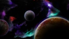 Planetas y nebulosa foto de archivo