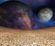 Planetas y tierra agrietada