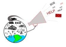 Planetekologikatastrof royaltyfri illustrationer