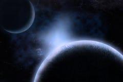 Planeten über dem Nebelfleck Lizenzfreies Stockfoto