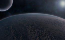 Planeten über dem Nebelfleck Lizenzfreie Stockbilder