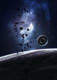 Planeten über den Nebelflecken im Raum Stockfotografie