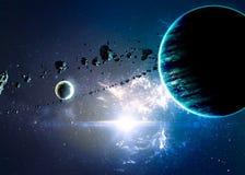 Planeten über den Nebelflecken im Raum Stockbild