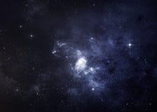Planeten über den Nebelflecken im Raum Stockfotos