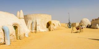 Planeten av Tatooine i den Sahara öknen nära Tozeur, Tunisien, Afrika royaltyfri foto