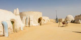 Planeten av Tatooine Tatooine var den första planeten som ska introduceras i de original- filmstjärnakrigen royaltyfria bilder
