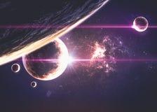 Planeten über den Nebelflecken im Raum Lizenzfreies Stockfoto