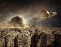 Planeten in de hemel van een onvruchtbaar landschap royalty-vrije illustratie