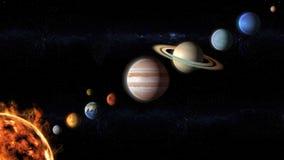 Planeten des Sonnensystems ausgerichtet Stockbilder