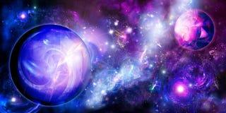 Planeten dichtbij nebulas Stock Foto