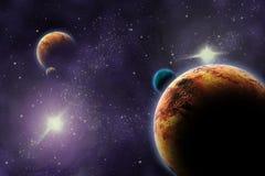 Planeten in diepe donkere ruimte. Stock Afbeeldingen