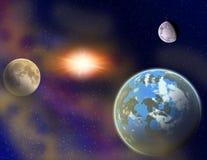Planeten in een ruimte. Stock Fotografie