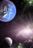 Planeten in einem Raum.
