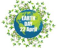 Planeten en groene bladeren 22 april Gelukkige Aardedag De kaart van de aardedag vector illustratie