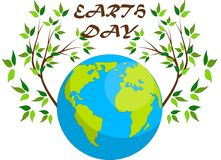 Planeten en groene bladeren 22 april Gelukkige Aardedag De kaart van de aardedag stock illustratie