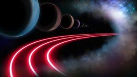 Planeten en intergalactische weg royalty-vrije illustratie