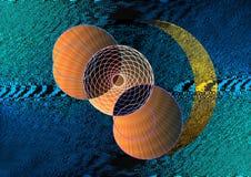 Planeten en maan in ruimte vector illustratie