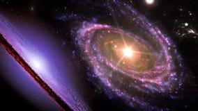 Planeten en melkweg, kosmos, fysieke kosmologie, science fictionbehang Schoonheid van diepe ruimte stock illustratie