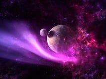 Planeten en melkweg, science fictionbehang royalty-vrije stock foto's