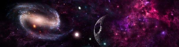 Planeten en melkweg, science fictionbehang vector illustratie