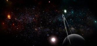 Planeten en melkweg, science fictionbehang Schoonheid van diepe ruimte stock illustratie