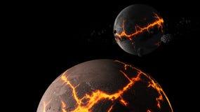Planeten en melkweg, science fictionbehang Schoonheid van diepe ruimte royalty-vrije stock foto's