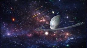 Planeten en melkweg, science fictionbehang Schoonheid van diepe ruimte royalty-vrije illustratie
