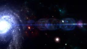 Planeten en melkweg, science fictionbehang Schoonheid van diepe ruimte stock afbeelding