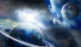Planeten en meteorieten in ruimte Stock Fotografie