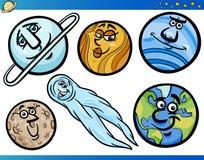 Planeten en Orbs BeeldverhaalSet van tekens vector illustratie