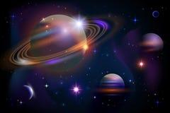 Planeten en ruimte. stock illustratie