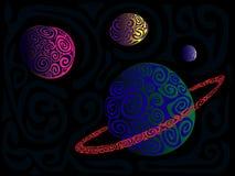 Planeten en ruimte royalty-vrije illustratie