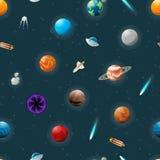 Planeten en spaceshipspatroon royalty-vrije illustratie