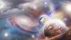 Planeten en spiraalvormige melkweg stock illustratie