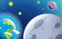 Planeten en starss in de hemel royalty-vrije illustratie