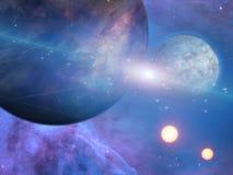 Planeten en zonnen vector illustratie