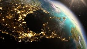 Planeten-Erd-Mittelamerika-Zone unter Verwendung der Satellitenbilder NASAs Lizenzfreies Stockfoto