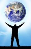 Planeten-Erde in der Hand Stockfoto