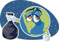 Planeten-Erde, die Plastikabfall-Taschen-Vektor-Karikatur hält vektor abbildung