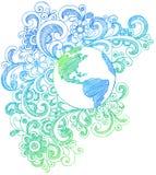Planeten-Erde-flüchtige Notizbuch-Gekritzel Stockfotos