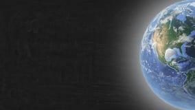Planeten-Erde gelegen im rechten Teil Schirm und Sternen vektor abbildung