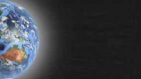 Planeten-Erde im linken Teil Schirm und Sternen lizenzfreie stockfotografie