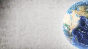 Planeten-Erde im rechten Teil des Schirmes und der Betonmauer stockfotos