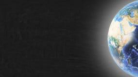 Planeten-Erde im rechten Teil Schirm und Sternen stockfoto