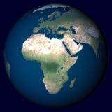 Planeten-Erde mit Höhepunkt in Afrika Stockfoto
