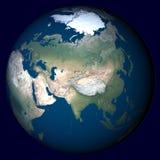 Planeten-Erde mit Höhepunkt in Asien Lizenzfreies Stockfoto