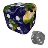 Planeten-Erde mit Wolken und Mond als Würfeln Lizenzfreie Stockfotos