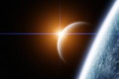 Planeten-Erde und Mond mit Sonnenaufgang vektor abbildung