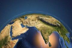 Planeten-Erde vom Raum, der Indien und arabische Halbinsel zeigt vektor abbildung